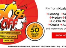 AirAsia 50 Hours Half Price Promotion