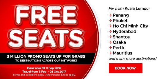 AirAsia Free Seats Offer 2017
