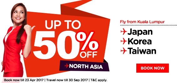 AirAsia 50 Percent Off North Asia Promo