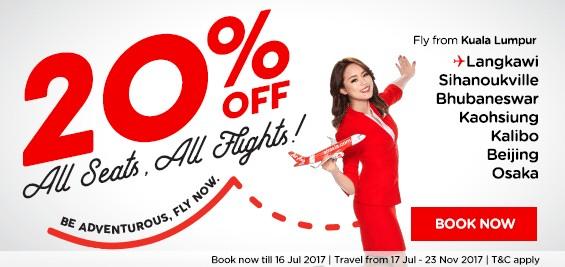 AirAsia 20 Percent All Flights Promotion